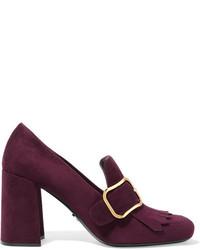 Zapatos de Tacón de Ante Morado Oscuro de Prada