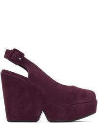 Zapatos de Tacón de Ante Morado Oscuro de Robert Clergerie