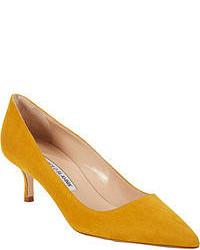 Zapatos de tacón de ante mostaza