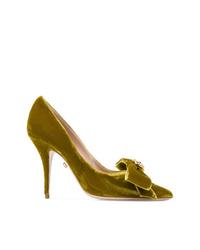 Zapatos de tacón de ante mostaza de Fausto Puglisi