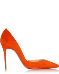 Zapatos de Tacón de Ante Naranjas de Christian Louboutin