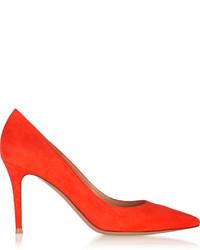Zapatos de Tacón de Ante Naranjas de Gianvito Rossi