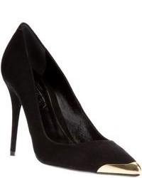 Zapatos de Tacón de Ante Negros y Dorados