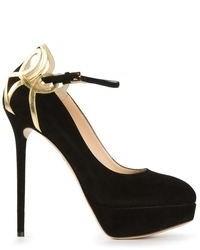 Zapatos de Tacón de Ante Negros y Dorados de Charlotte Olympia