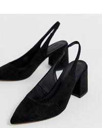 Zapatos de tacón de ante negros de ASOS DESIGN
