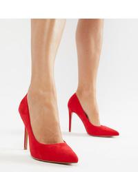 Zapatos de tacón de ante rojos de ASOS DESIGN