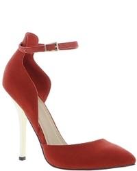 Zapatos de tacón de ante rojos de Asos