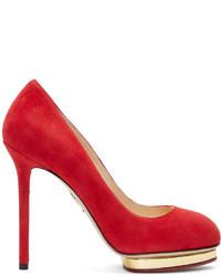 Zapatos de tacón de ante rojos de Charlotte Olympia