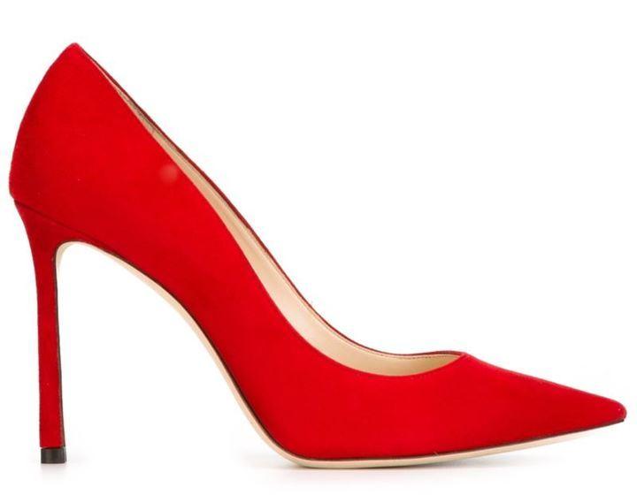 Zapatos de tacón de ante rojos de Jimmy Choo