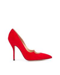 Zapatos de tacón de ante rojos de Paul Andrew
