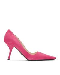 Zapatos de tacón de ante rosa de Prada