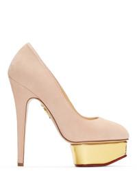 Zapatos de tacón de ante rosados de Charlotte Olympia