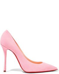 Zapatos de Tacón de Ante Rosados de Christian Louboutin