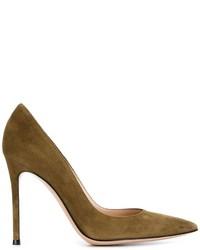 Zapatos de Tacón de Ante Verde Oliva de Gianvito Rossi
