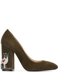 Zapatos de Tacón de Ante Verde Oliva de No.21