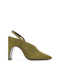 Zapatos de Tacón de Ante Verde Oliva de Pierre Hardy