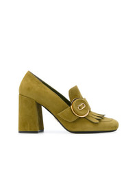 Zapatos de Tacón de Ante Verde Oliva de Prada