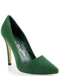 Zapatos de tacón de ante verde oscuro