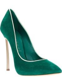 Zapatos de Tacón de Ante Verde Oscuro de Casadei