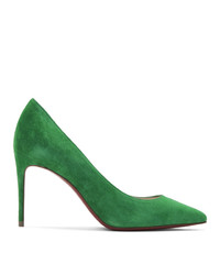 Zapatos de tacón de ante verdes de Christian Louboutin