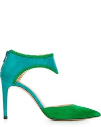 Zapatos de tacón de ante verdes de Jean-Michel Cazabat