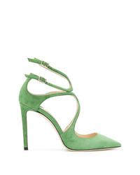 Zapatos de tacón de ante verdes de Jimmy Choo