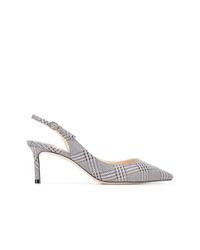 Zapatos de tacón de cuero a cuadros en blanco y negro de Jimmy Choo