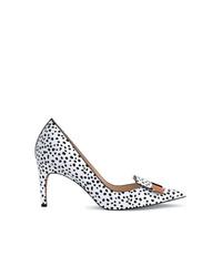 Zapatos de tacón de cuero a lunares en blanco y negro de Sergio Rossi