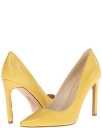 Zapatos de Tacón de Cuero Amarillos