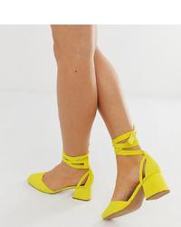 Zapatos de tacón de cuero amarillos de ASOS DESIGN