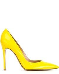 Zapatos de Tacón de Cuero Amarillos de Gianvito Rossi
