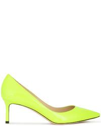 Zapatos de Tacón de Cuero Amarillos de Jimmy Choo