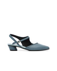 Zapatos de tacón de cuero azul marino de Reike Nen