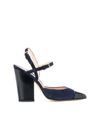 Zapatos de tacón de cuero azul marino de Thom Browne