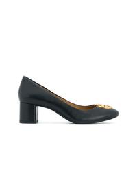 Zapatos de tacón de cuero azul marino de Tory Burch