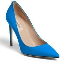 Zapatos de tacón de cuero azules