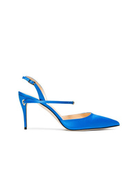 Zapatos de tacón de cuero azules de Jennifer Chamandi