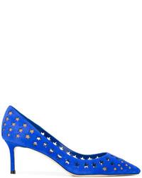Zapatos de tacón de cuero azules de Jimmy Choo