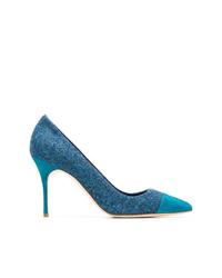 Zapatos de tacón de cuero azules de Manolo Blahnik