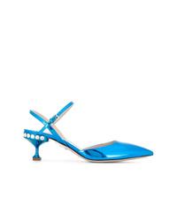 Zapatos de tacón de cuero azules de Miu Miu