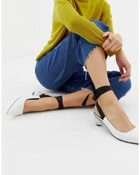 Zapatos de tacón de cuero blancos de ASOS DESIGN