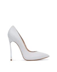 Zapatos de tacón de cuero blancos de Casadei