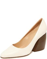 Zapatos de tacón de cuero blancos de Helmut Lang