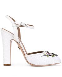 Zapatos de Tacón de Cuero Blancos de Le Silla