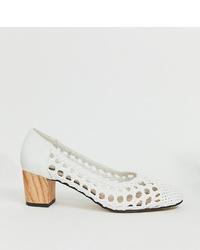 Zapatos de tacón de cuero blancos de Miss Selfridge