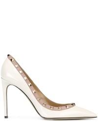 Zapatos de Tacón de Cuero Blancos de Valentino Garavani