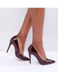 Zapatos de tacón de cuero burdeos de ASOS DESIGN