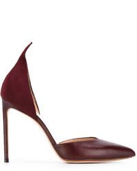 Zapatos de tacón de cuero burdeos de Francesco Russo