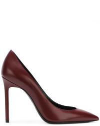 Zapatos de tacón de cuero burdeos de Saint Laurent