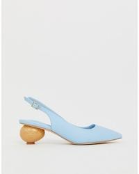 Zapatos de tacón de cuero celestes de ASOS DESIGN